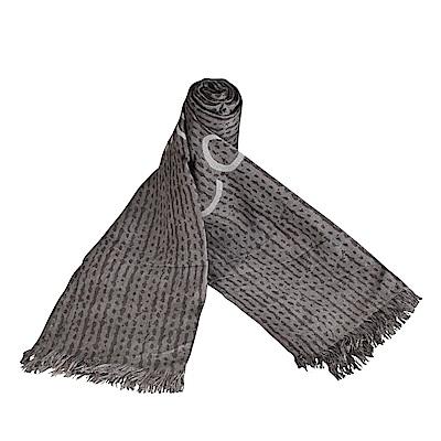 CK Calvin Klein 雙色LOGO印花造型長圍巾(灰)