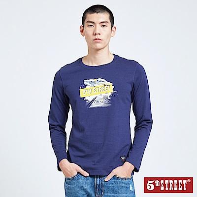 5th STREET 潮流風格原創LOGO長袖T恤-男-藍色