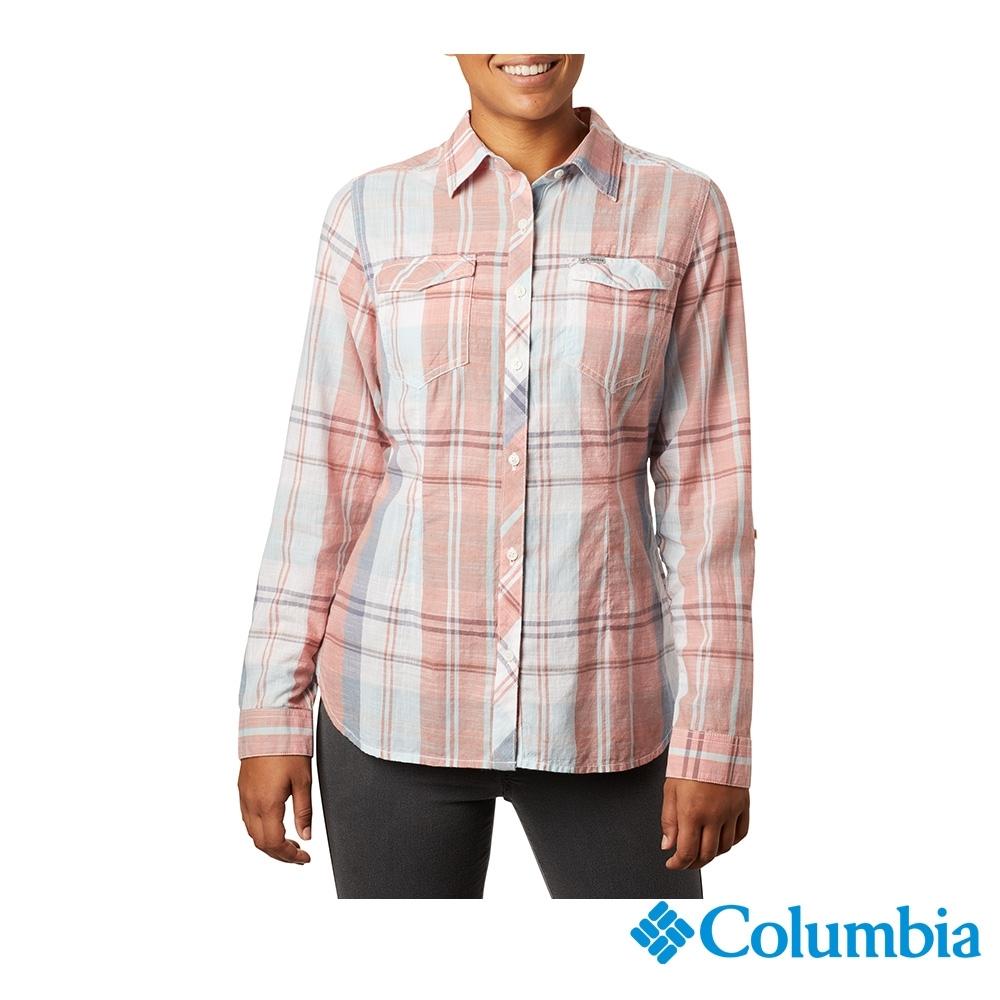 Columbia 哥倫比亞 女款- 純棉長袖襯衫-粉紅 UAR13870PK