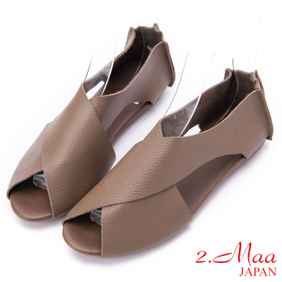 2.Maa 日系交叉帶顯瘦牛皮魚口平底休閒鞋 - 卡其