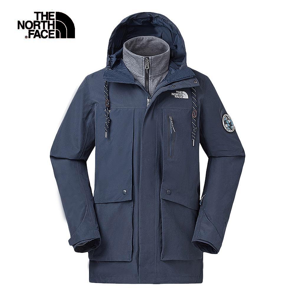 The North Face北面男款藍色防水保暖三合一外套 46F5H2G