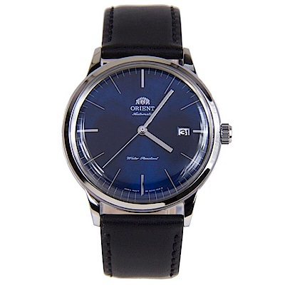 ORIENT DATEⅡ 紳藍簡潔手動上鍊機械腕錶(FAC0000DD0)-藍/40mm