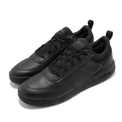 adidas 休閒鞋 Tensaurus K 低筒 女鞋 愛迪達 皮革鞋面 穿搭 素色 大童 黑 EF1086