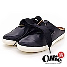 Aviator*韓國空運-Ollie正韓製蝴蝶結皮革質感穆勒鞋-黑