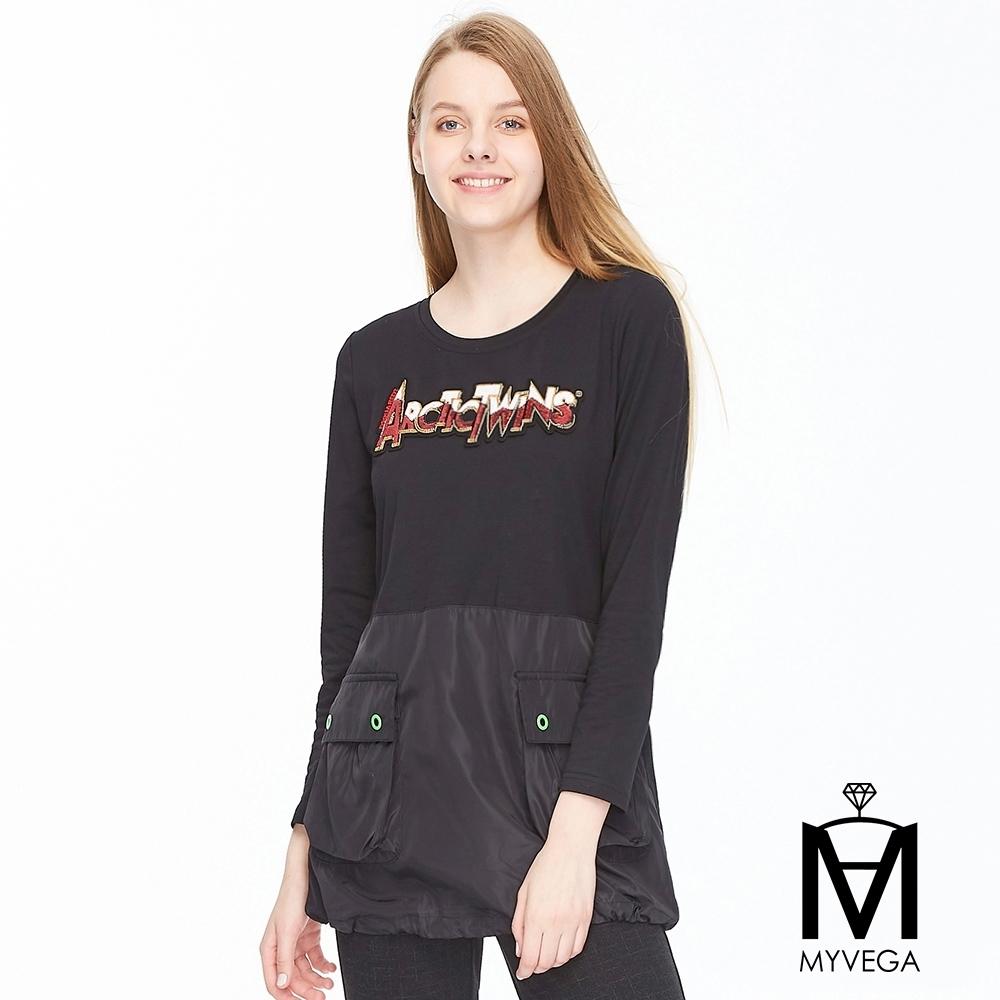 麥雪爾 MA棉質潮流亮片字母造型上衣-黑