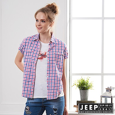 JEEP 女裝 甜美造型格紋短袖襯衫-紅藍格