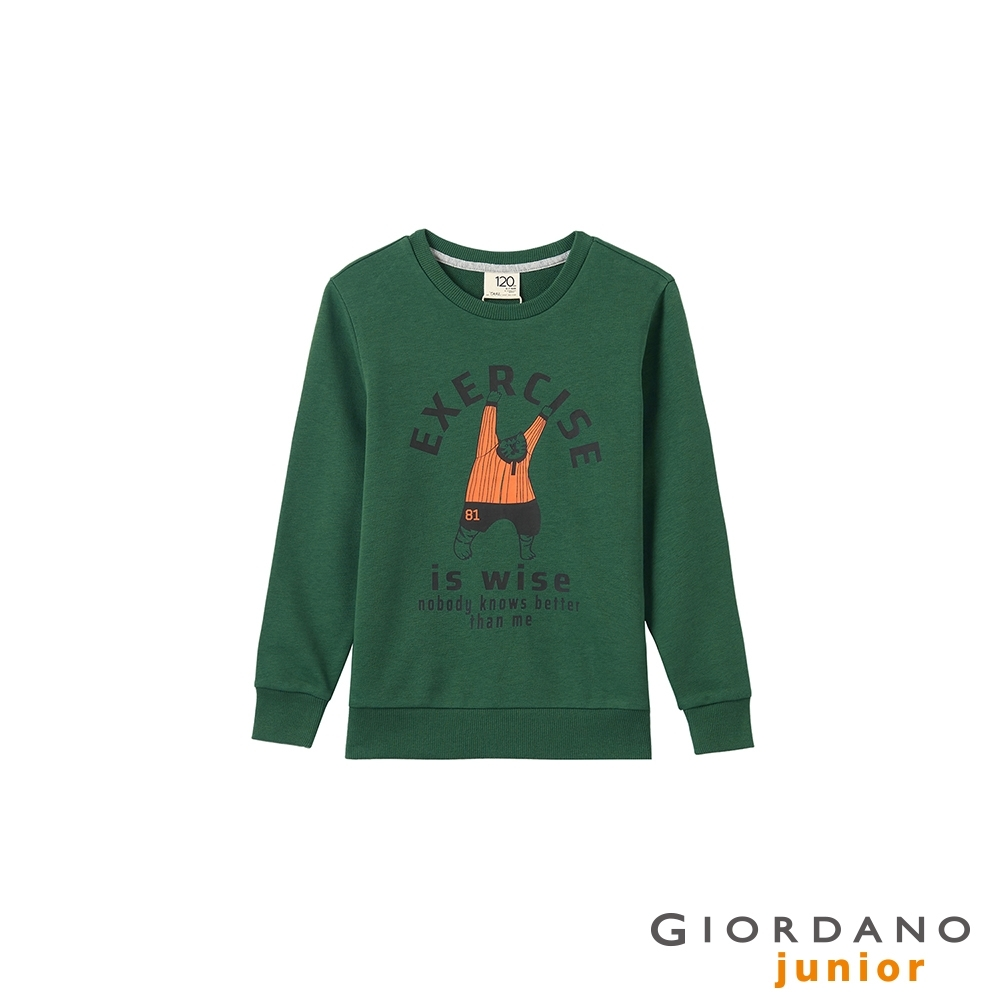 GIORDANO 童裝Stay Curious長袖T恤 - 02 鬆針綠 product image 1
