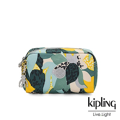 Kipling 叢林展葉綠長形化妝包-GLEAM