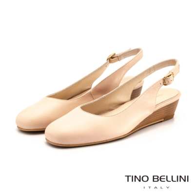 Tino Bellini西班牙進口復古小方頭後拉帶楔型鞋_粉膚