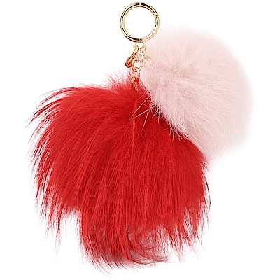 Michael Kors Twin Fur 狐狸毛雙毛球吊飾鑰匙圈(紅x粉)