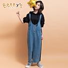 betty's貝蒂思 牛仔拼接連帽假兩件洋裝(黑色)