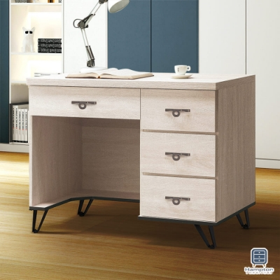 Hampton安娜利鋼刷白3.5尺書桌-106x58x82cm