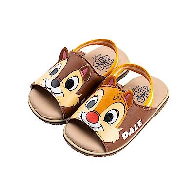 迪士尼童鞋 奇奇蒂蒂 立體造型寶寶涼鞋-咖
