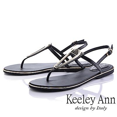 Keeley Ann金屬飾扣 素面夾腳人字平底涼鞋(黑色)