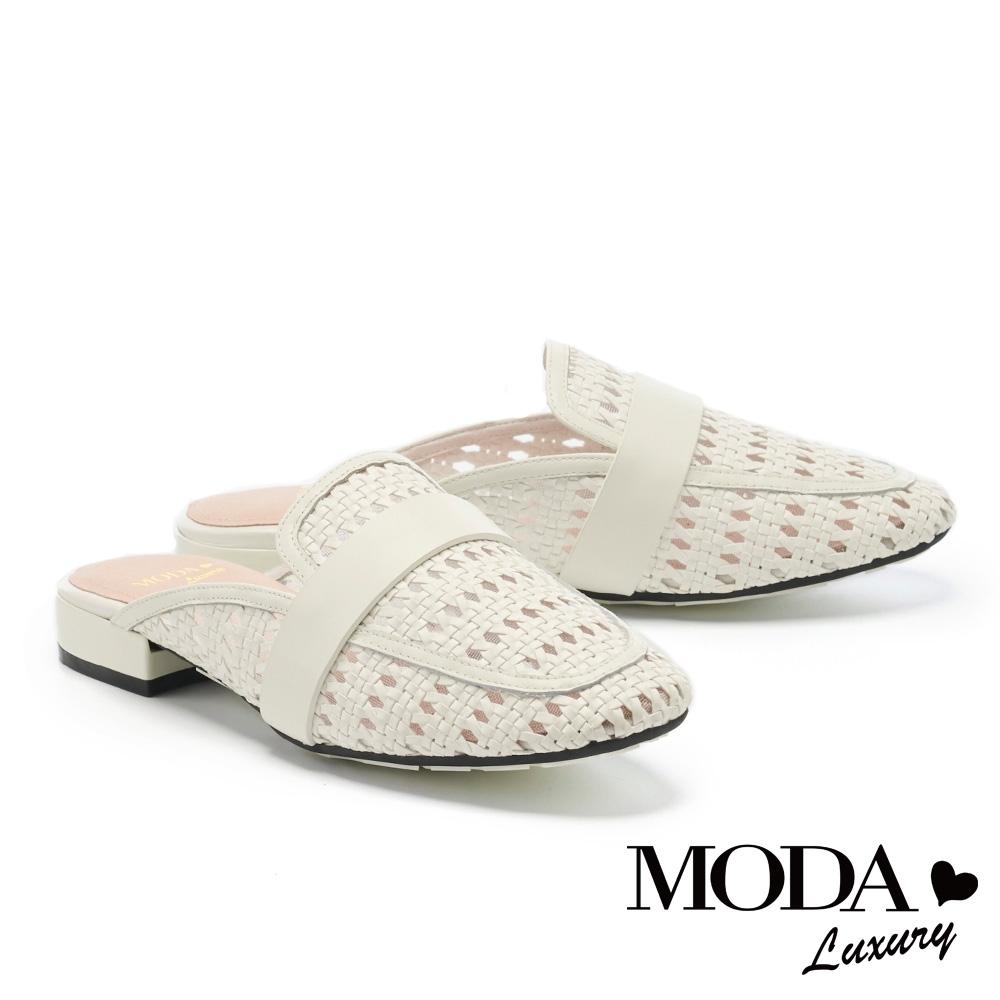 拖鞋 MODA Luxury 優雅質感簍空編織低跟穆勒拖鞋-白