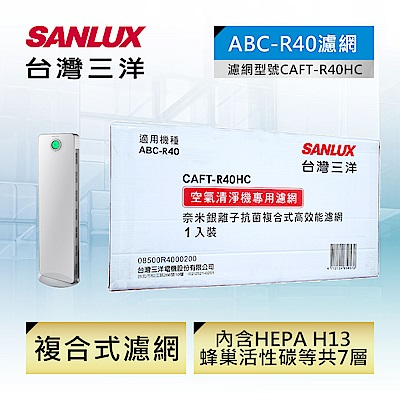 SANLUX 台灣三洋 空氣清淨機ABC-R40濾網配件(CAFT-R40HC)