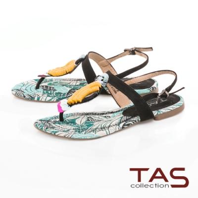 TAS 鸚鵡飾扣平底夾腳涼鞋-經典黑