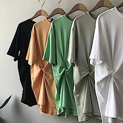 韓國空運 特殊抓皺造型長版棉tee-4色-TMH