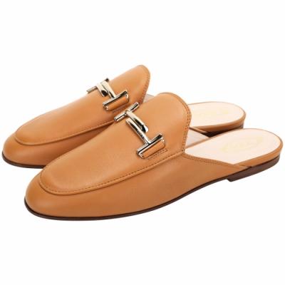 TOD'S Double T 金屬設計牛皮穆勒鞋(女鞋/奶糖色)