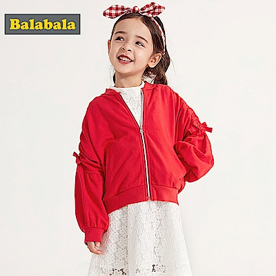 Balabala巴拉巴拉-泡泡袖蝴蝶結造型夾克外套-女(2色)