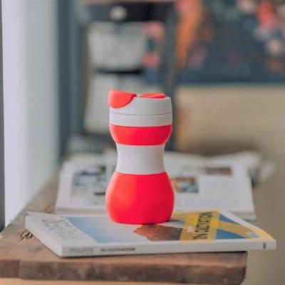仁舟淨塑 矽密咖啡杯500ml-美式(紅白)