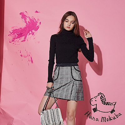 Hana+花木馬 英式千鳥格紋印花滾邊拼接羊毛打摺A字造型短裙-黑(共2色)