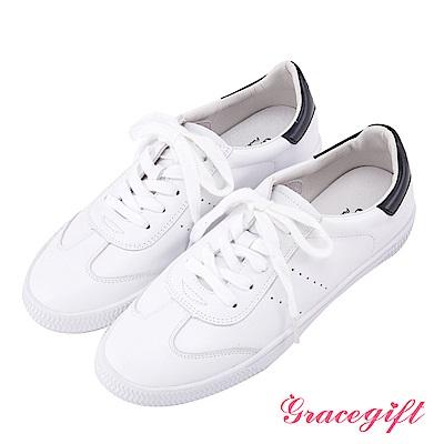Grace gift-牛皮休閒綁帶小白鞋 白黑