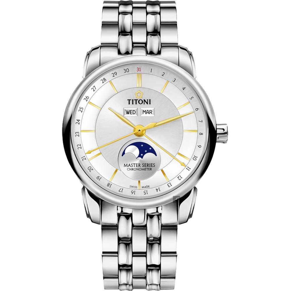 TITONI 梅花錶 大師系列天文台認證月相機械錶-銀