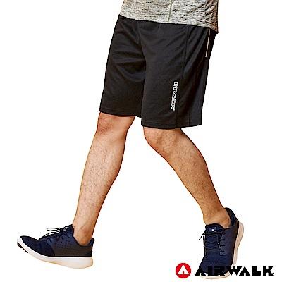 【AIRWALK】男款拼接運動短褲-黑色