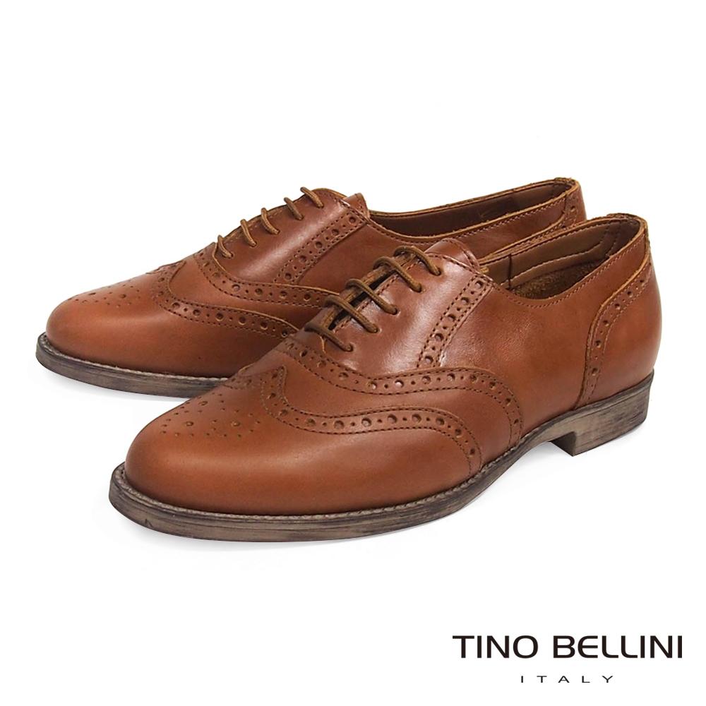 Tino Bellini義大利經典真皮雕花牛津鞋_棕