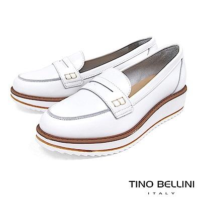 Tino Bellini 義大利進口優雅英倫復古風楔型莫卡辛鞋 _ 白