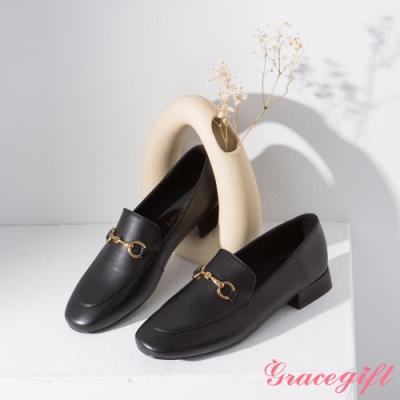Grace gift-微方頭馬銜鍊樂福鞋 黑