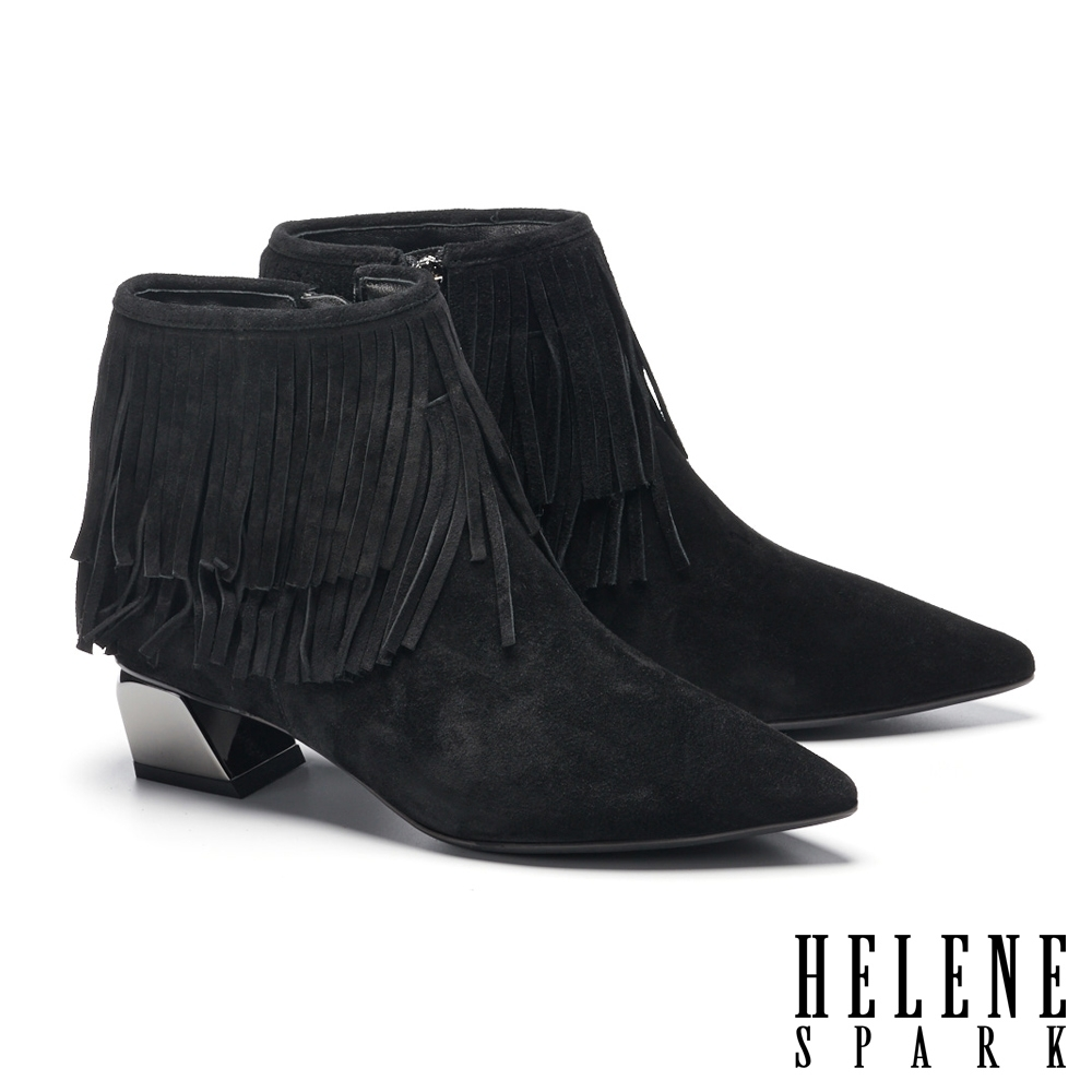 短靴 HELENE SPARK 率性時髦流蘇牛麂皮尖頭低跟短靴-黑
