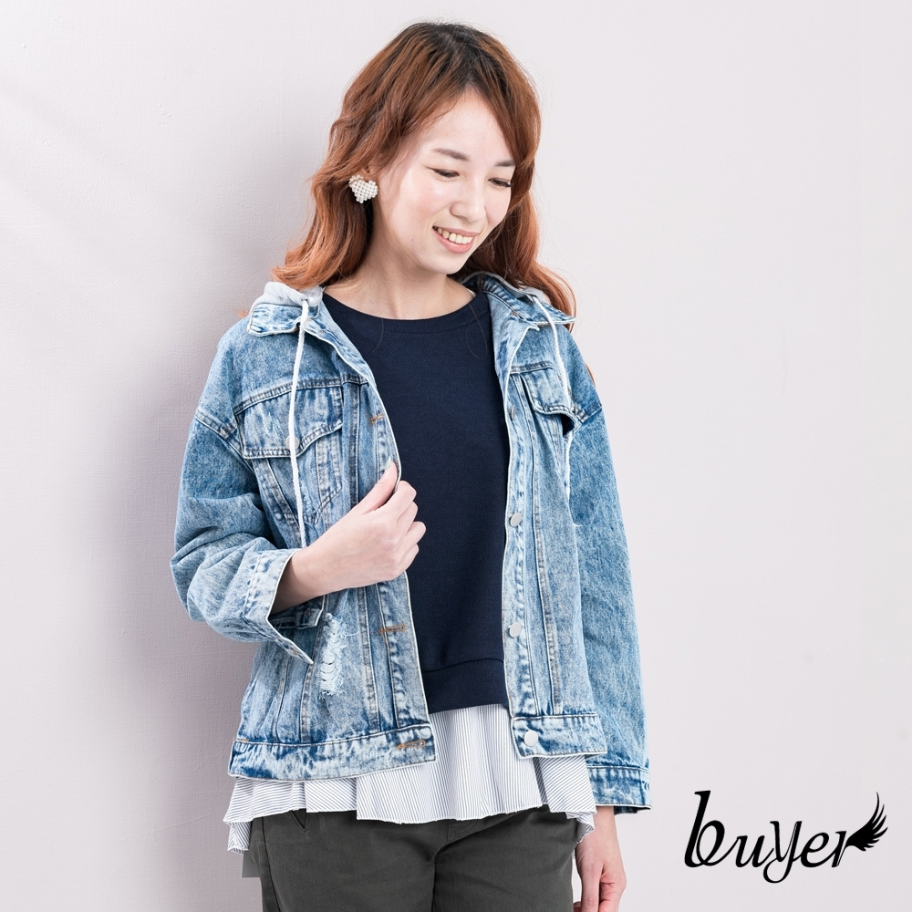 【白鵝buyer】韓版 雙口袋可拆帽牛仔外套_雪花藍