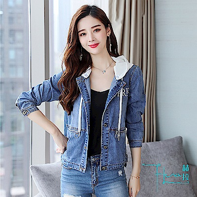 【Hera 赫拉】 牛仔外套女2018秋季短款寬鬆顯瘦韓版學生修身夾克連帽小外套