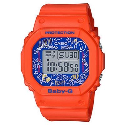 BABY-G 塗鴉設計方形電子休閒錶-橘(BGD-560SK-4)/40mm