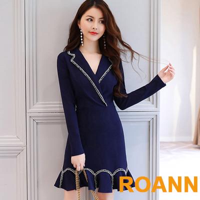 深V包邊翻領不規則魚尾裙長袖洋裝 (藏青色)-ROANN