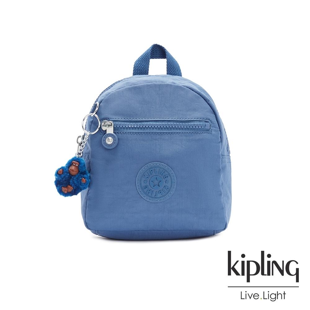 Kipling 優雅天穹藍簡約時尚拉鍊後背包-WINNIFRED