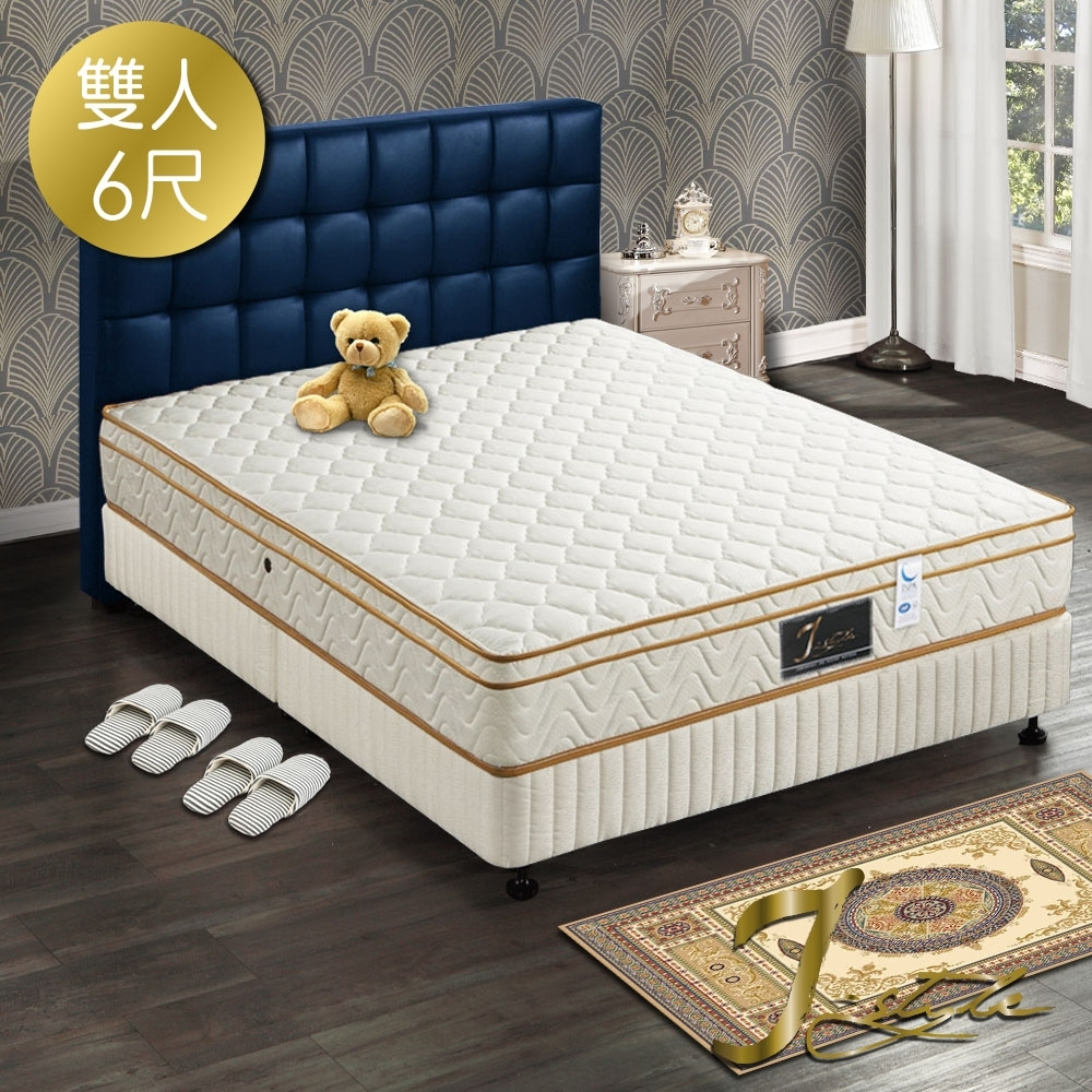 婕絲黛 飯店款3M防潑水+蓆面二用彈簧床墊 雙人加大6x6.2尺