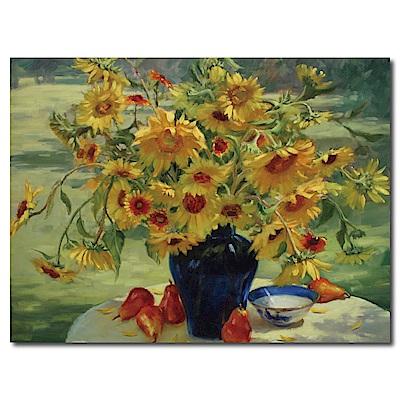 橙品油畫布-單聯式橫幅 掛畫無框畫 向日葵 40x30cm