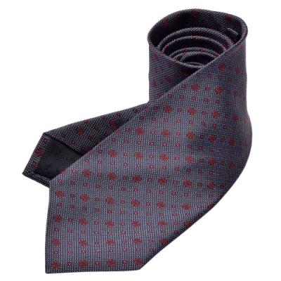 GUCCI 經典GG Guccissima緹花圓點刺繡圖案絲質領帶(藍X紅)