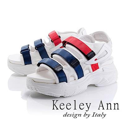 Keeley Ann 街頭漫步~網布雙色帶厚底休閒涼鞋(藍色-Ann系列)