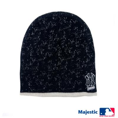 MLB-紐約洋基隊雪花電繡質感毛帽-黑