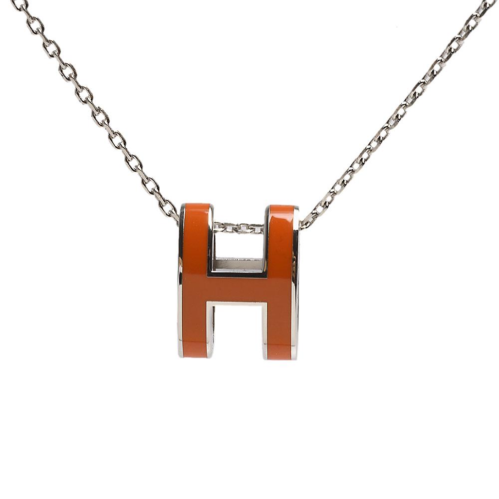 HERMES 經典Pop H立體簍空橢圓LOGO項鍊(橙X銀)
