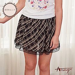 Annys安妮公主-學院風格紋雪紡鬆緊帶蕾絲裙擺裙褲*8184黑