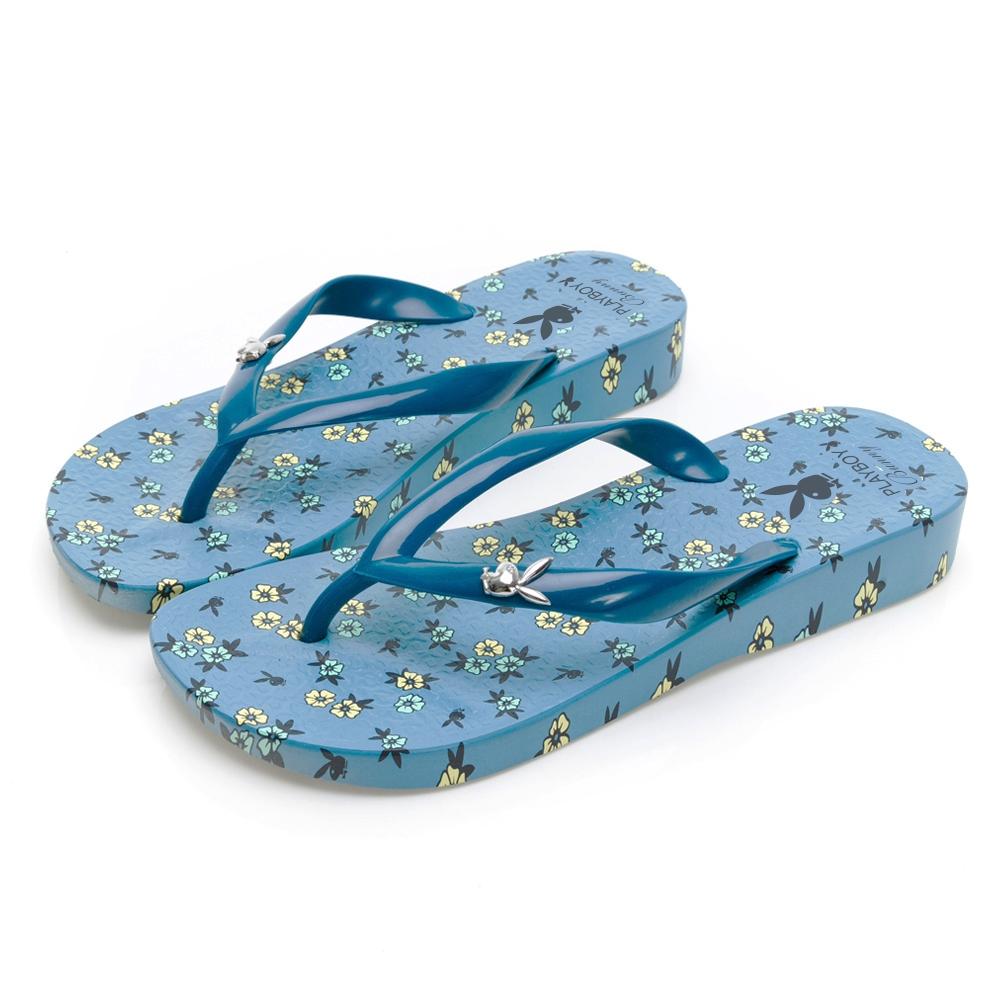 PLAYBOY 花漾南洋 夏日派對夾腳拖-灰藍-YT7012F