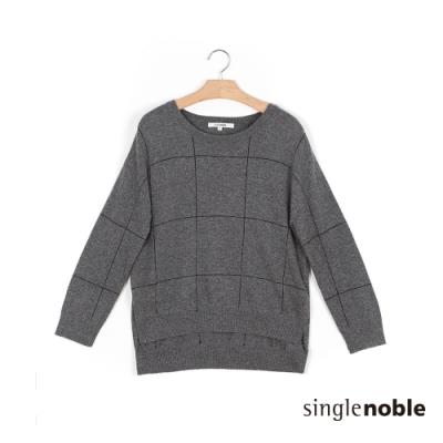 獨身貴族 復古大方格紋兔羊毛針織上衣(2色)