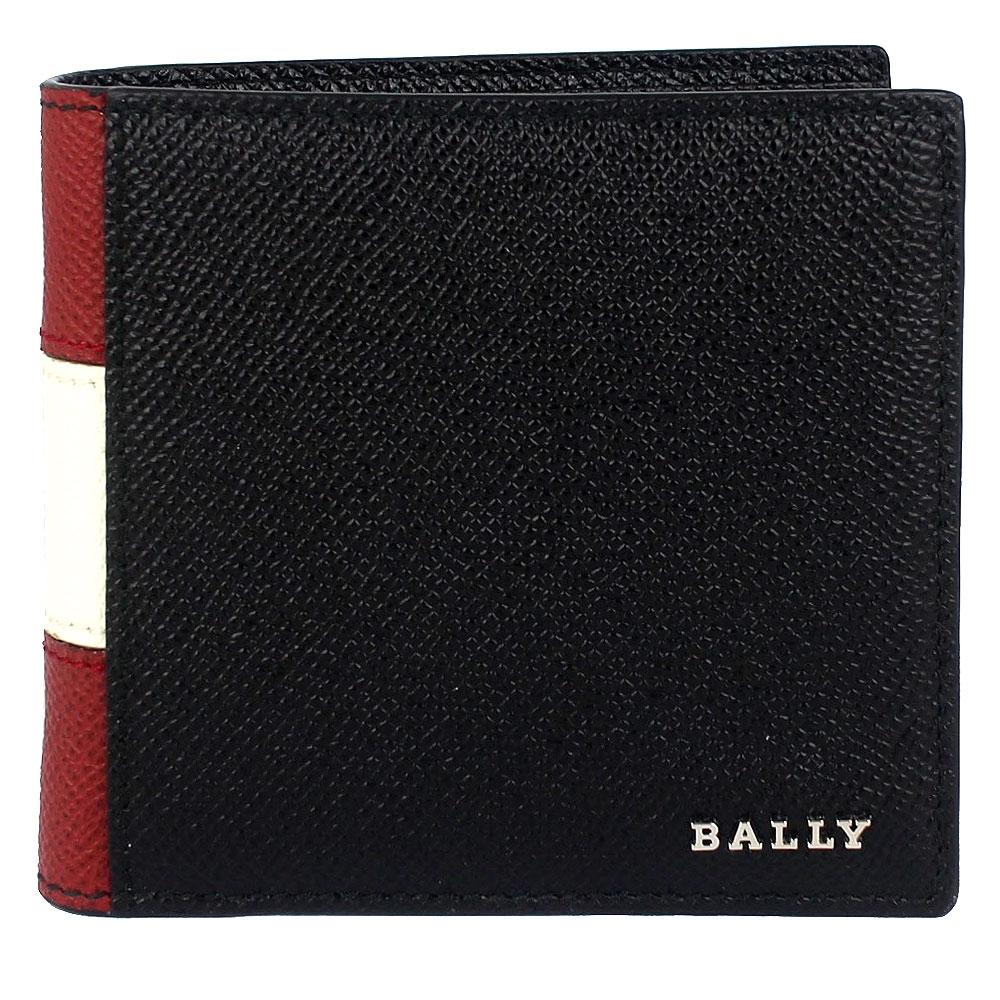 BALLY TRASAI 金屬品牌經典紅白標誌黑色八卡短夾