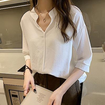 初色  氣質時尚雪紡衫-共4色-(L-3XL可選)