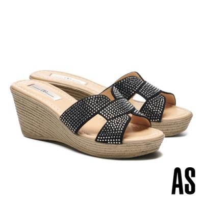 拖鞋 AS 閃爍耀眼晶鑽鏤空全真皮楔型高跟拖鞋-黑